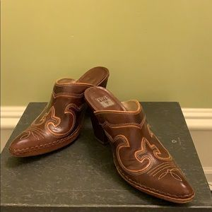 Frye Brown Leather Mules